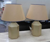 PORTA ROMANA HEXAGONAL TOLEWARE TABLE LAMPS, a pair, with hand painted shades, 58cm H. (2)