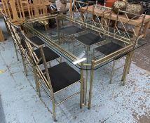 FAUX BAMBOO DINING TABLE, 1970's Italian brass table, with a glass top, 74cm H x 209cm L x 108cm,