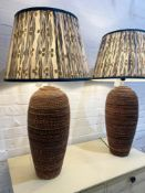 RATTAN TABLE LAMPS, a pair, with Pooky Empire shades, 87cm H. (2)