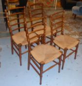 DINING CHAIRS, a set of four, late 19th/early 20th century birch each with a ladder back and a