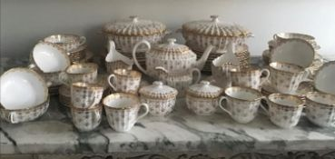 DINNER SERVICE, English fine bone china, Spode 'Fleur de Lys', gilt twelve place and five piece