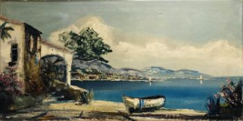HARNELL (Mid 20th century France), 'St Tropez' oil on canvas, 41cm x 81cm, signed.