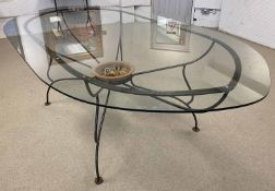 PAULTONS DESIGNS FULHAM DINING TABLE, glass top above a wrought iron base with a terracotta