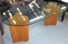 DINING TABLE, contemporary, twin pedestal bamboo design, glass top, 200cm x 100cm x 71cm.