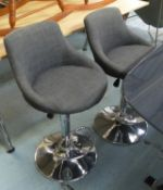 BAR STOOLS, a set of three, contemporary, height adjustable, grey fabric upholstered, 107cm at