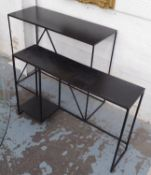CONSOLE TABLES, a set of two, Largest 90cm x 35cm x 76cm. (2) (with faults)