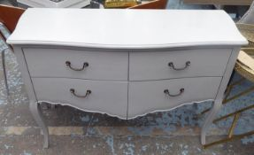 COMMODE, French style, grey painted finish, 120cm x 46cm x 81cm.