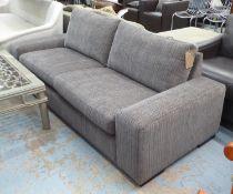 SOFA, contemporary design, grey fabric upholstered ebonised supports, 227cm x 90cm x 80cm.