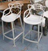KARTELL MASTERS BAR STOOLS, a pair, by Philippe Starck, 100cm H. (slight faults)