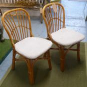 DINING CHAIRS, a set of eight, contemporary bamboo, with squab cushions, 85cm H approx (8)