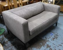 SOFA, contemporary, herringbone fabric upholstered, on ebonised supports, 140cm W approx. (slight