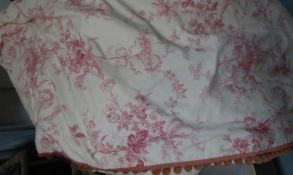 CURTAINS, a pair, toile du jouy cream and pink, lined and interlined, each curtain 110cm gathered