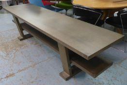 LOW TABLE, contemporary design, with under tier, 220cm x 60cm x 60cm.