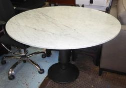 DINING TABLE, circular with a white marble top on a column support, approx 120cm diam.