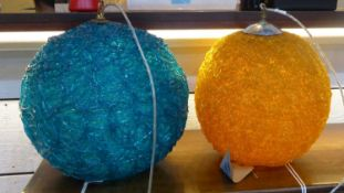 SPUN RESIN CEILING PENDANT LIGHTS, a pair, vintage 1970's, (purchased from Talisman), 40cm Diam at