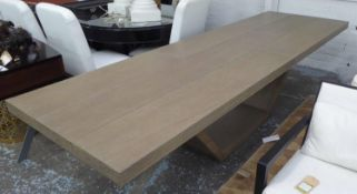JUSTIN VAN BREDA AGED GREY OAK DINING TABLE, 300cm x 90cm x 75cm H. (slight faults)