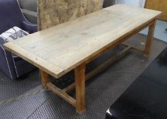 FARMHOUSE TABLE, oak, 82cm D x 77cm H x 218cm L. (with faults)