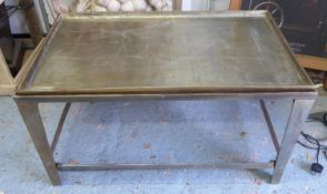 LOW TABLE, the brass tray top on a brass base, 102cm W x 61cm D x 56cm H.