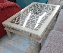 LOW TABLE, grey painted oriental style design with glass top, 121cm W x 80cm D x 45cm H.