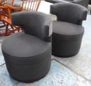 SWIVEL BARREL CHAIRS, a pair, grey fabric upholstery, satin piping detail, 77cm H. (2)