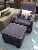 OLLI ELLA MO-MA GLIDER NURSING ARMCHAIR AND STOOL, with matching footstool, 97cm H x 73cm W. (2) (