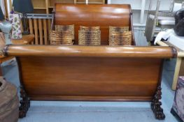 AND SO TO BED SLEIGHBED FRAME, mahogany with carved paw feet, 192cm W x 138cm H x 295cm L. (with