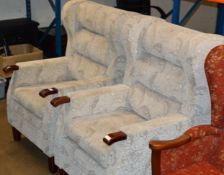 PAIR OF MODERN WING BACK ARM CHAIRS