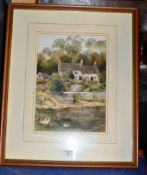 """14"""" X 9¾"""" FRAMED WATERCOLOUR - DUCKS BY THE RIVER, BY CHRISTOPHER HUGHES"""