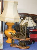 LARGE DECORATIVE RETRO STYLE LAMP, 1 OTHER LAMP & HORSE & CART DISPLAY
