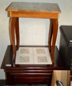 NEST OF 3 MAHOGANY TILE TOP TEA TABLES & SMALL FLIP TOP SEWING TABLE WITH SEWING ACCESSORIES