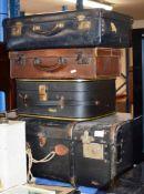 OLD TRUNK & 3 VINTAGE CASES
