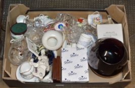 BOX CONTAINING SYLVAC DOG ORNAMENT, COFFEE WARE, CRYSTAL WARE, MINIATURE ORNAMENTS ETC