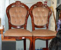 PAIR OF REPRODUCTION MAHOGANY EFFECT BEDROOM CHAIRS