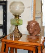 NEST OF 3 REPRODUCTION YEW WOOD TEA TABLES, PARAFFIN LAMP & DECORATIVE EGYPTIAN BUST
