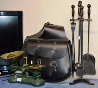 SET OF VINTAGE SCALES WITH WEIGHTS, POLICE WRIST WATCH, MOTORCYCLE SADDLE BAG & COMPANION SET