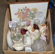 BOX WITH CUT CRYSTAL WARE, VARIOUS FIGURINE ORNAMENTS, FRAMED PICTURE, VARIOUS GLASS WARE ETC