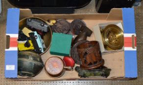 BOX WITH VINTAGE MODEL/TOY VEHICLES, PAPER WEIGHT, WOODEN WARE, BIRD ORNAMENT ETC