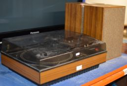 VINTAGE STEREO SOUND TURNTABLE WITH PAIR OF TWIN TEAK CASED SPEAKERS