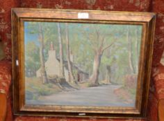 """13½"""" X 17½"""" FRAMED OIL ON CANVAS - THE WOODMAN'S HOUSE, BY ALAN B IRVINE"""