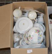 BOX WITH QUANTITY TEA WARE, QUEEN ANNE & PARAGON BELINDA