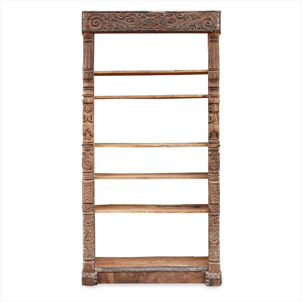 Lot 28A - CARVED OAK OPEN BOOKSHELVES 16TH/ 17TH CENTURY, MADE-UP 19TH CENTURY
