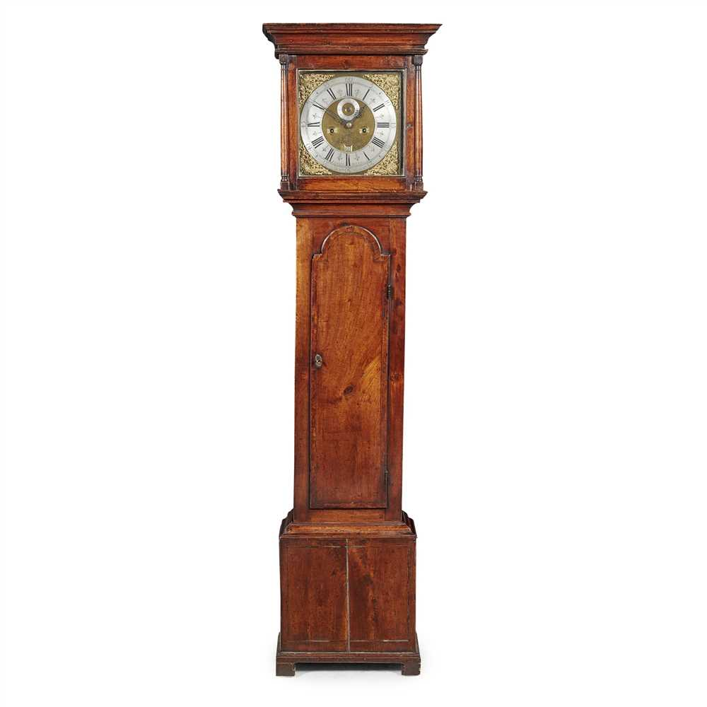 Lot 48 - GEORGIAN MAHOGANY AND WALNUT LONGCASE CLOCK, EDWARD PATRICK, LONDON EARLY 18TH CENTURY