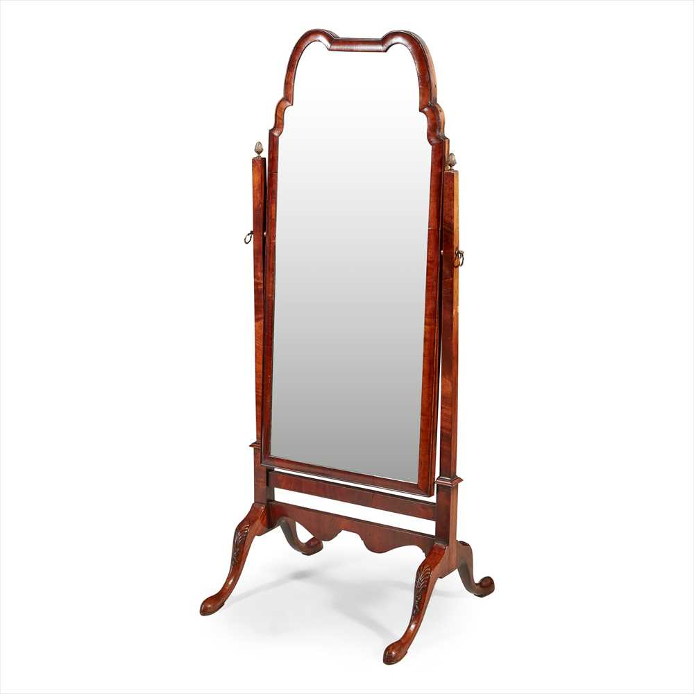 Lot 37 - QUEEN ANNE STYLE MAHOGANY CHEVAL MIRROR EARLY 20TH CENTURY