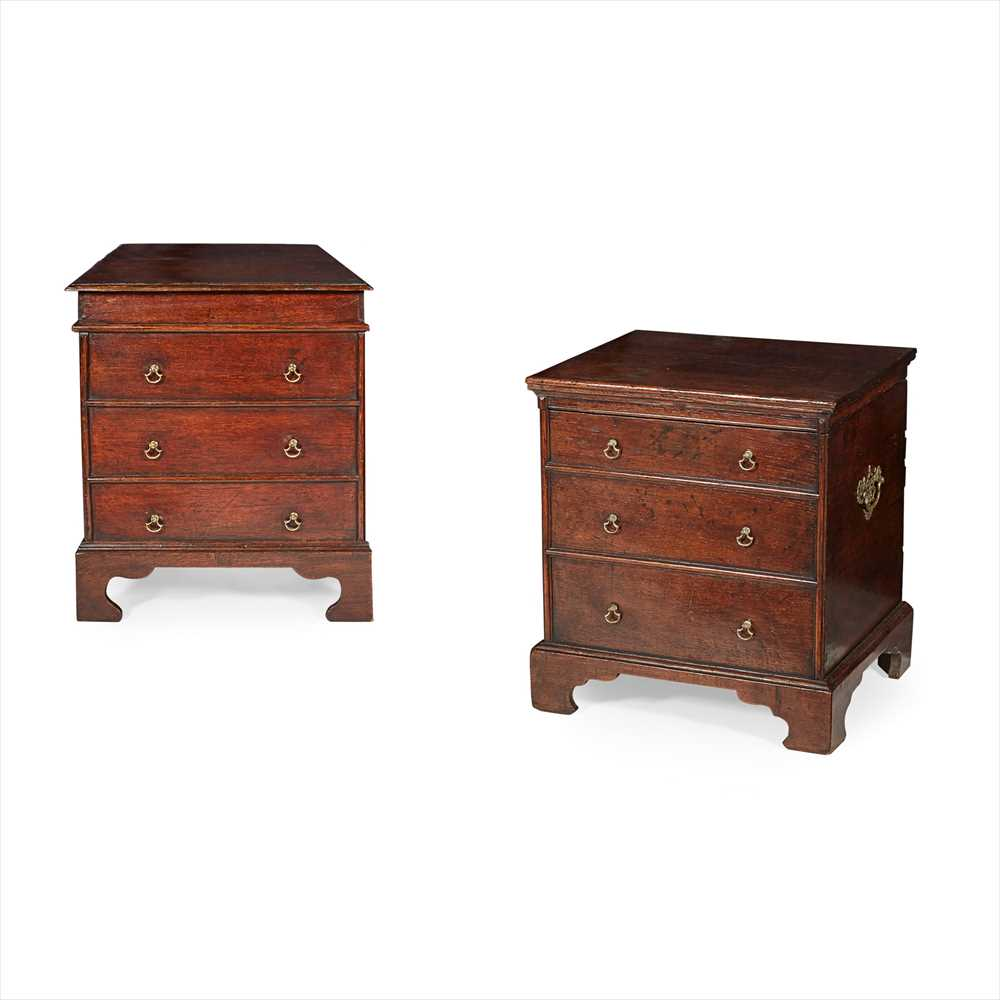 Lot 46 - TWO MINIATURE GEORGIAN OAK CHESTS 18TH CENTURY WITH ALTERATIONS