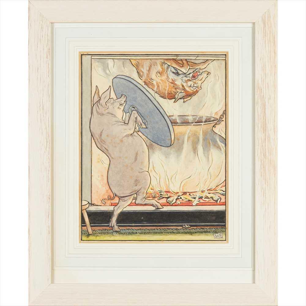Lot 200 - LEONARD LESLIE BROOKE (1862-1940) SET OF EIGHT ORIGINAL ILLUSTRATIONS FOR 'THE THREE LITTLE PIGS,