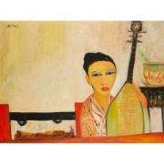 § JOHN BELLANY C.B.E., R.A. (SCOTTISH 1942-2013) CHINESE GIRL  Signed (upper left), signed and titled (verso), oil on canvas  (90cm x 120cm (35.5in x 47.25in)) | Lyon & Turnbull