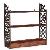 GEORGE III MAHOGANY 'CHINESE CHIPPENDALE' HANGING SHELVES 18TH CENTURY