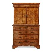 GEORGE I BURR WALNUT AND MARQUETRY SECRETAIRE CABINET-ON-CHEST EARLY 18TH CENTURY