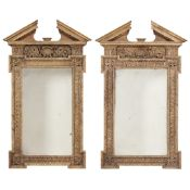 PAIR OF GEORGE II STYLE CARVED PINE PIER MIRRORS LATE 20TH CENTURY