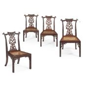 SET OF FOUR CHINESE EXPORT PADOUK 'CHIPPENDALE' SIDE CHAIRS 19TH CENTURY